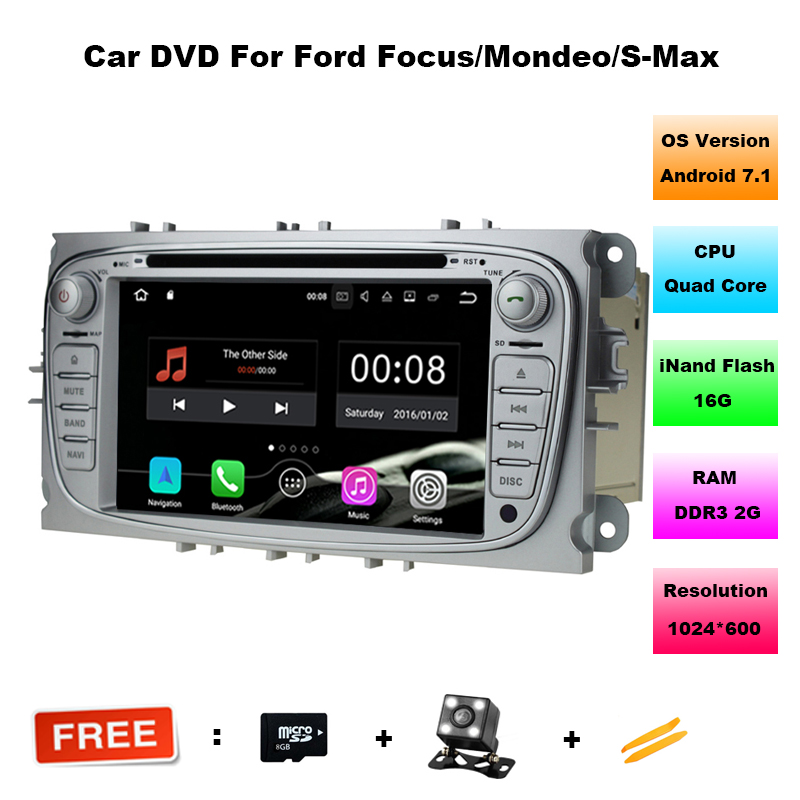2 Din 7 Inch 1024*600 Android 7.11 Car DVD for FORD FOCUS 2 MONDEO S-MAX 2008-2011 With WIFI Radio GPS RDS BT ford car dvd focus