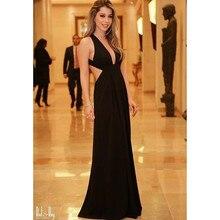 2017 wunderschöne Schwarz Tiefem V-ausschnitt Mantel Bodenlangen Sexy Backless Keine Dekorationen A Line Abendkleider Abendkleider 5311003