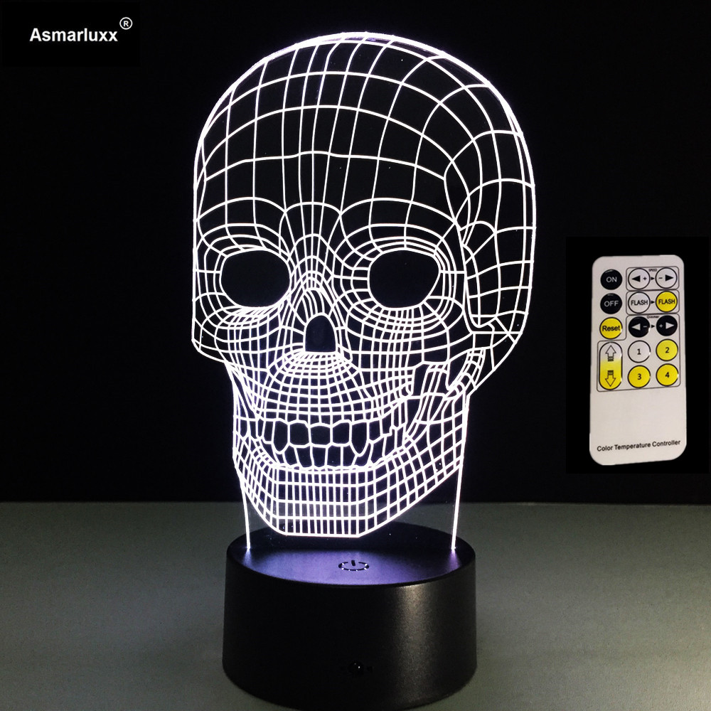 LED Novelty Light Skull series Night Light Remote/Touch 3D Lamp USB Acrylic 7 Colorful 3D Desk Light Home Decoration Night Lamp