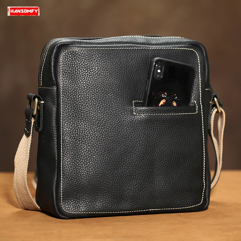 Original Cowhide mens shoulder bag Retro genuine leather men diagonal small flap messenger bag Handmade casual crossbody bagOriginal Cowhide mens shoulder bag Retro genuine leather men diagonal small flap messenger bag Handmade casual crossbody bag