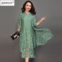 Large Size 6XL 2018 Spring Pink Green Print Dress O Neck Half Sleeve Casual Vestido Feminina