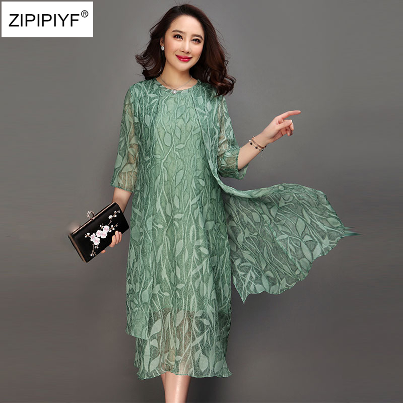 Large size 6XL 2018 spring Pink green print dress O neck half sleeve casual Vestido feminina summer vintage silk A-line dress