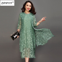 Large size 6XL 2018 spring Pink green print dress O neck half sleeve casual Vestido feminina summer vintage silk A line dress