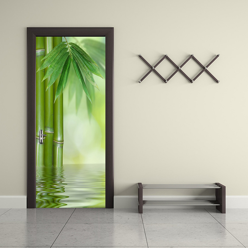 Green Bamboo Forest Leaf 3D Photo Wallpaper Home Decor Modern Living Room Bedroom Door Sticker PVC Mural Self-adhesive Wallpaper 2 sheet pcs 3d door stickers brick wallpaper wall sticker mural poster pvc waterproof decals living room bedroom home decor