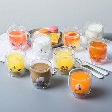 250ML Creative Bear Coffee Mug Cute Animal Double Glass Cup Cartoon Transparent Milk Tea Mugs Girl Cups
