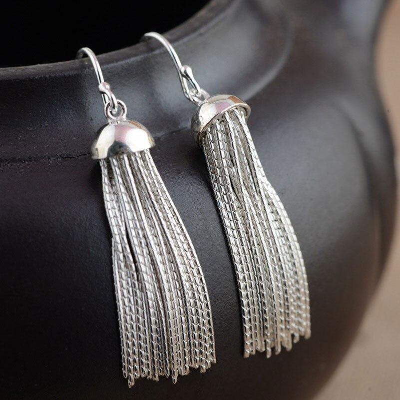 925 Sterling Silver Long Earring for Women S925 Silver boucle d'oreille Tassel Chain Drop Earrings