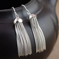 925 Sterling Silver Long Earring for Women S925 Silver boucle d'oreille Tassel Chain Drop Earrings