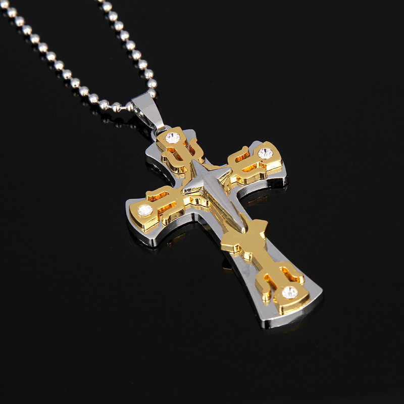 New Cross Necklace For Men Gold Black Necklace Chain Catholic Crucifix Necklaces Pendants Male Punk Rock Necklace Women