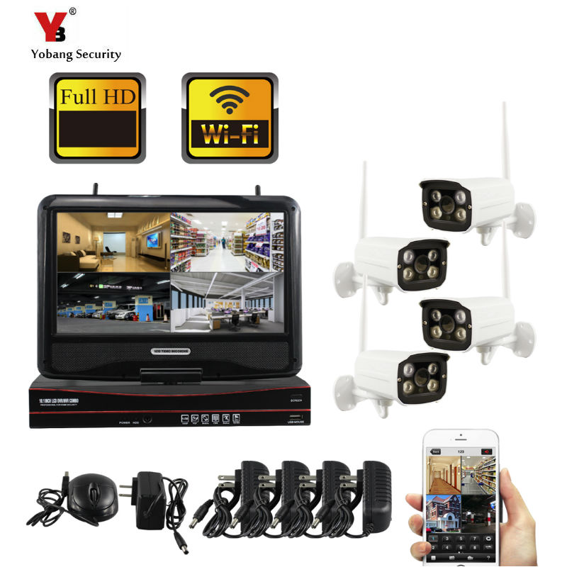 4CH 960P Wireless NVR CCTV System Kit 10 LCD Screen Monitor 1.3MP Outdoor IP66 Wifi IP Camera Security Surveillance Set image