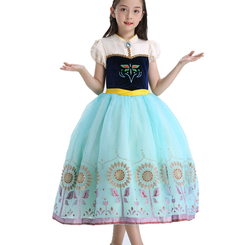 FINDPITAYA Girl Anna Dress Ball Gown Floral Print Anna Elsa Princess Costume with Vest Christmas Kids Cosplay Party Fancy Dress