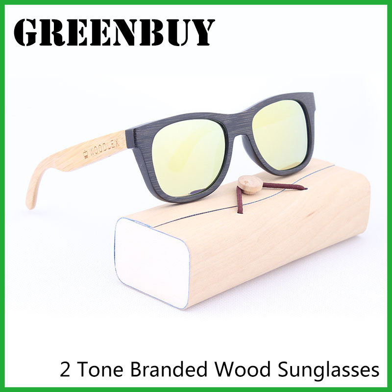 real bamboo sunglasses on sale discount designer sunglasses polarized uv400 yellow gold mirror coating wood frames glasses gb005