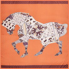Square Twill Silk Scarf Women Spring Autumn Luxury Brand Horse Printed 130*130cm foulard Designer Scarves Shawls bufanda mujer
