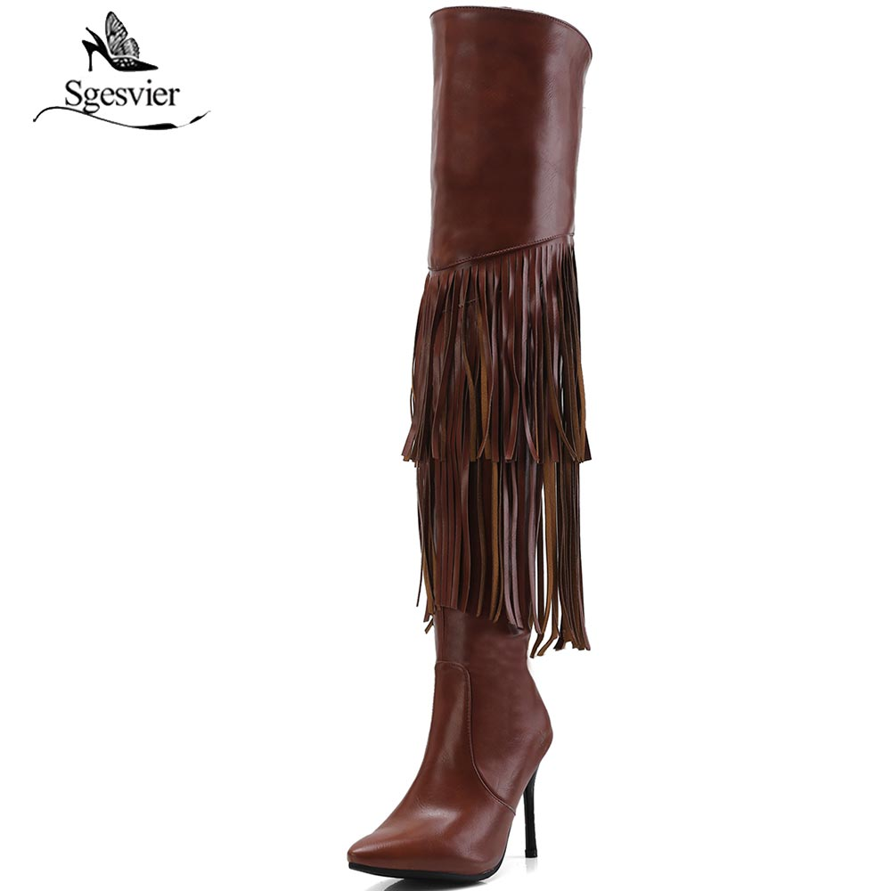 Sgesvier Ladies Boots Autumn Tassel Shoes Sexy Over The Knee Boots Fringe Black Brown Thin High Heel Long  Boots Female B633Sgesvier Ladies Boots Autumn Tassel Shoes Sexy Over The Knee Boots Fringe Black Brown Thin High Heel Long  Boots Female B633