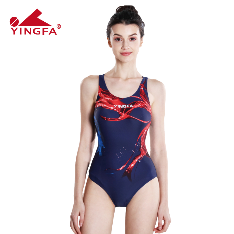 Yingfa Swimwear Women Arena Swimsuit Girls One Piece Black Plavky Competition Swimming Suit For Women Swimsuits(China)