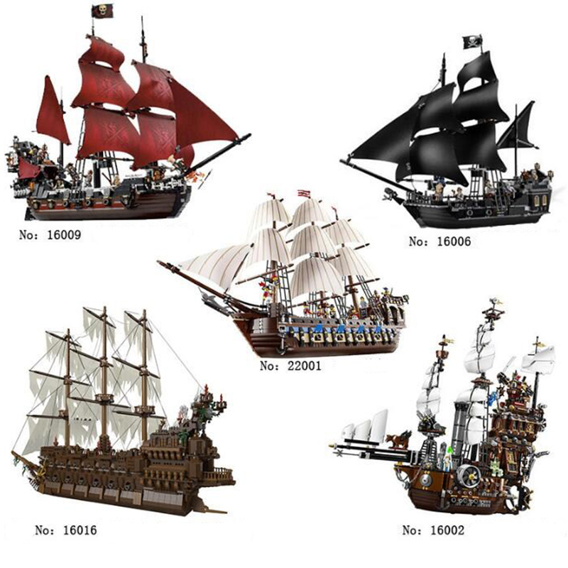 16009 bricks Caribbean Queen Annes revenge Pirates 16006 The Black Pearl 16016 Ghost Pirate ship Toys Building Blocks brinquedo
