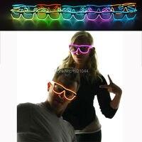Неоновый свет Очки EL Провода светящиеся Очки с 3 В звуковой активации драйвера для светящиеся украшения партии 30 штук