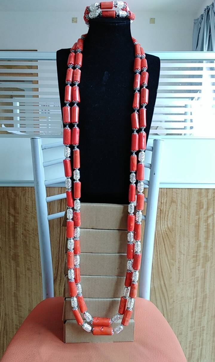 Dudo Jewelry Men s Nature Coral Beads Necklace Set With 2 Pics Bracelet Nigerian Wedding Groom