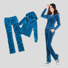 Primavera/outono/2020 marca feminina veludo tecido fatos de treino cor sólida veludo terno feminino faixa moletons e calças sapphire k