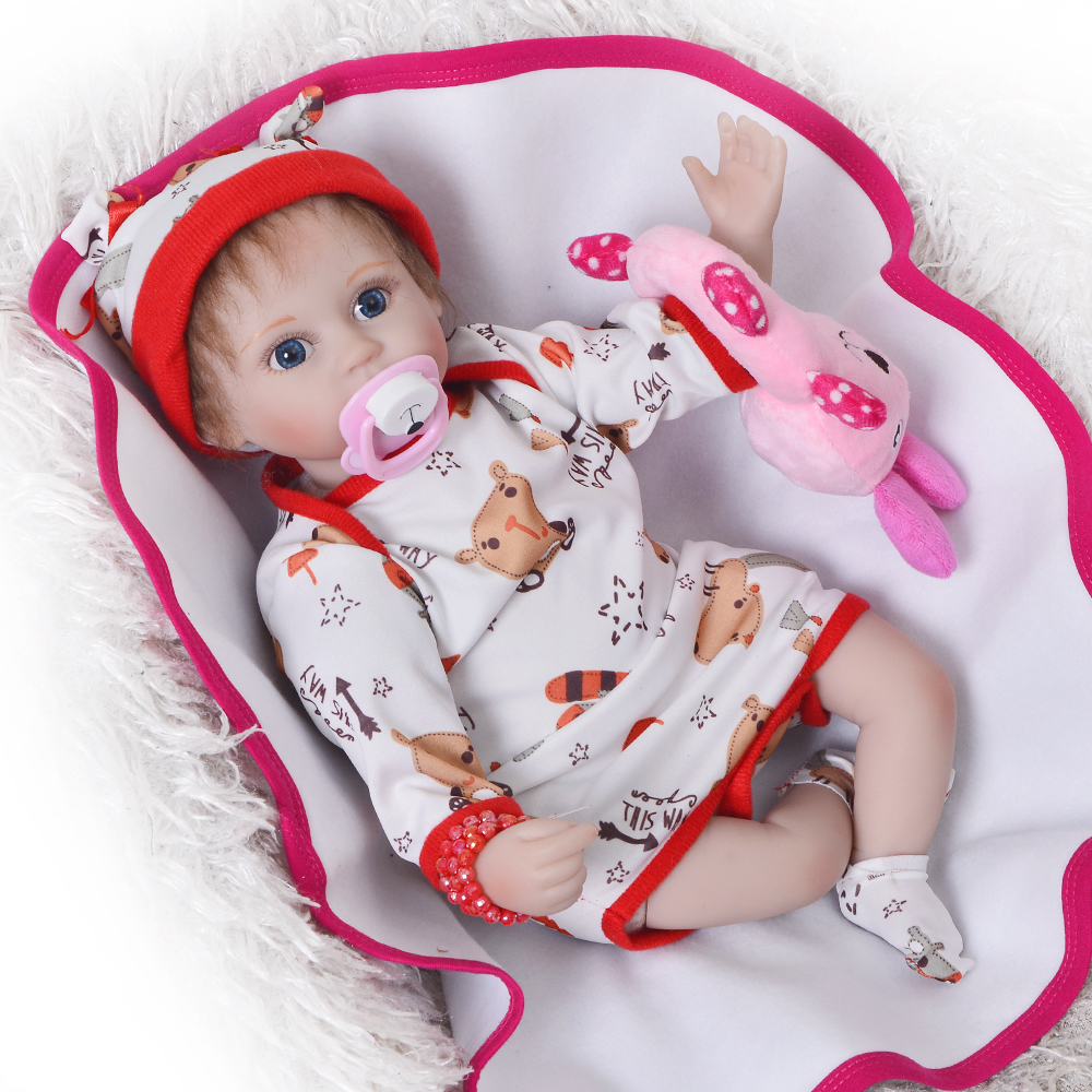 Cute Reborn Baby Dolls 17 Inch Realistic Silicone Doll Fashion DIY Princess Toy Doll Baby Girl Clothes Body 43 cm Kids Playmates american girl doll clothes for 18 inch dolls beautiful toy dresses outfit set fashion dolls clothes doll accessories