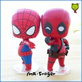 Mr.Froger SpiderMan And Deadpool Chibi Dolls Super hero PVC cute Action Figure Collectible Model Toys Hero The Avengers Gifts