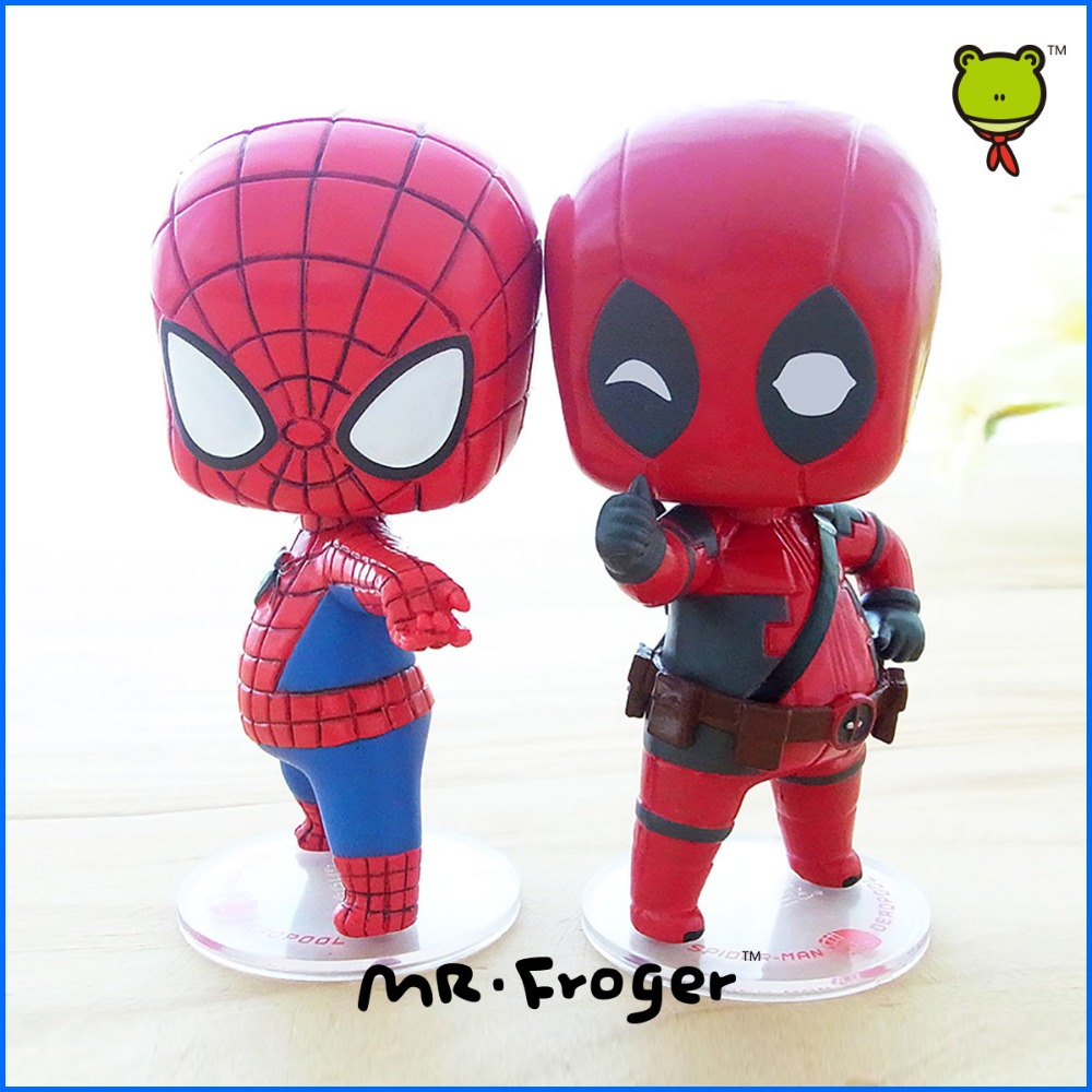 Mr.Froger <font><b>SpiderMan</b></font> And Deadpool Chibi Dolls Super hero PVC cute Action Figure Collectible Model Toys Hero The Avengers Gifts