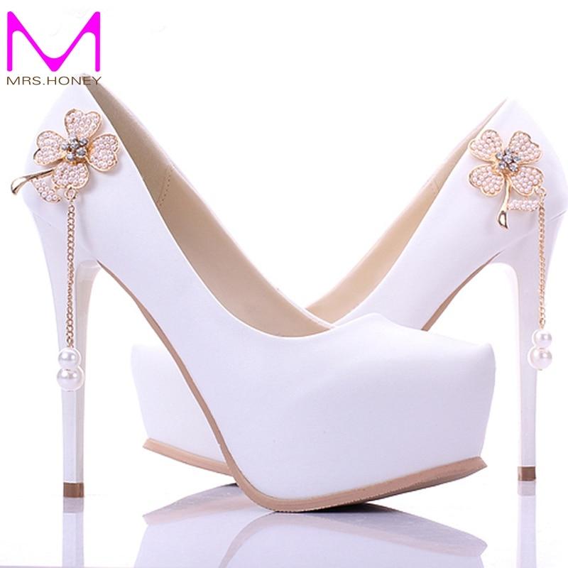 ФОТО Cheap New Arrival Concise Elegant White Bridesmaid Shoes 5 Inch Woman Fashion Single High Heels Bridal Wedding Shoes Platforms
