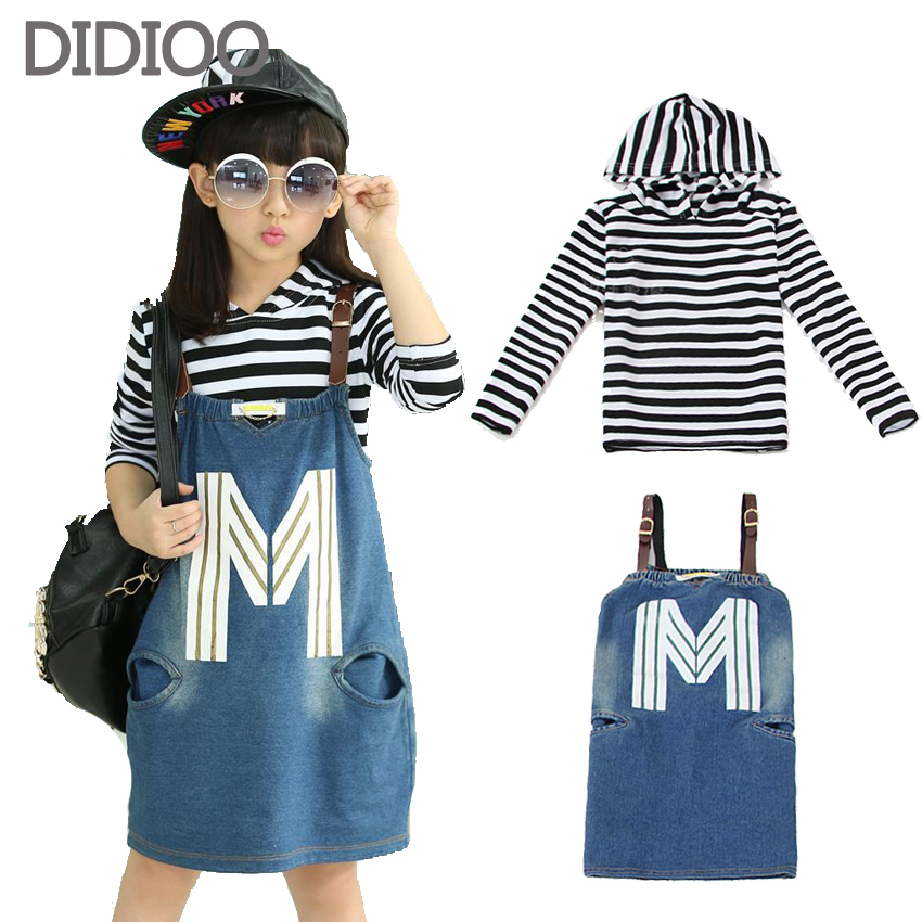School Children Clothing Sets For Girls Autumn Clothes Cotton Long Sleeve Big Kids Striped Tops & Denim Dress Casual Suit 4-15Y new autumn sweet girls sets two piece cardigan outwear cape jacket long sleeve dress cotton lace kids girls clothes sets