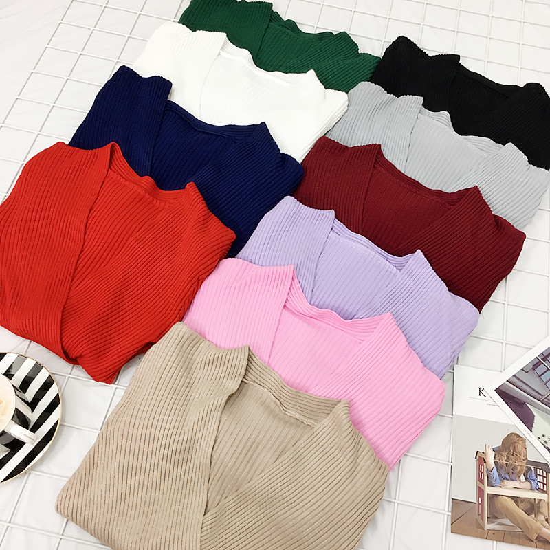 Knit Sweater Pullover Women Slim Deep V-neck Knitting Full Sleeve Pullovers Sweaters Girls Knitted Solid Knitwear Top For Female