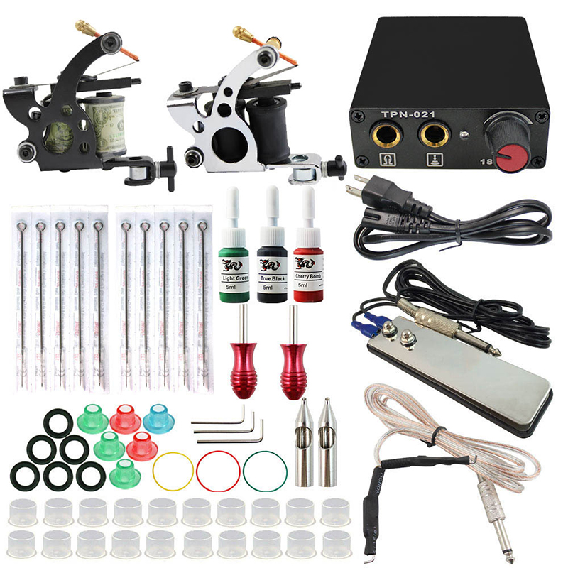 Complete profession Tattoo kits 10 wrap coils 2 guns machine 3 tattoo ink sets power supply disposable needle clip cord 100pcs disposable tattoo needle and tube 3 4 grip with tip