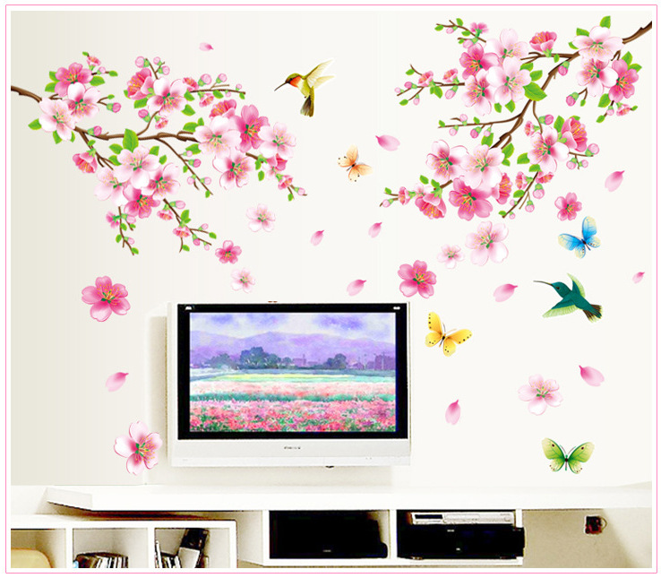 % Large 9158 Elegant Flower butterfly Wall Stickers Graceful Peach Blossom birds Wall Stickers Furnishings Romantic Living Room ...