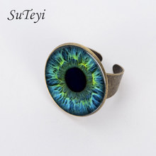 SUTEYI 2017 Fashion Rings Free Shipping Vintage Glass For Cat Eye Ring Art Picture Bronze And Adjustable Handmade Jewelry(China)