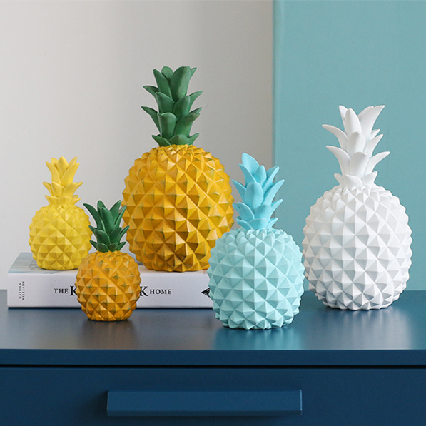 Creative Resin Pineapple Piggy Bank Statue Home Decor Crafts Room Decoration Objects Ornament Simulation Pineapple Figurine Gift