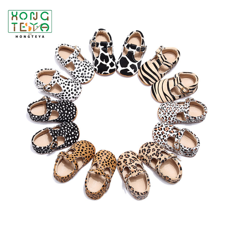 Hot Sale New  Genuine Leather Baby Shoes Leopard Print Girls Soft Sole Boys First Walkers T- Bar Summer Baby Moccasins