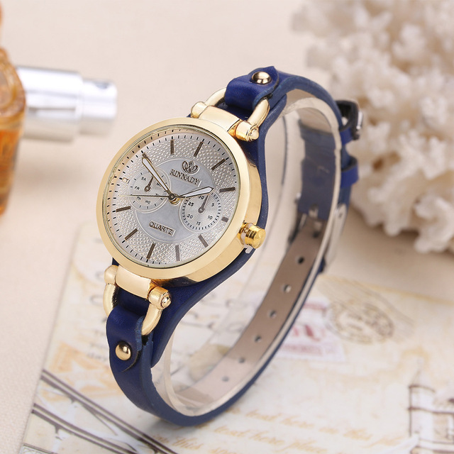 Fashion Brand Hot Womens Casual Leather quartz rose gold Watch Ladies bracelet W