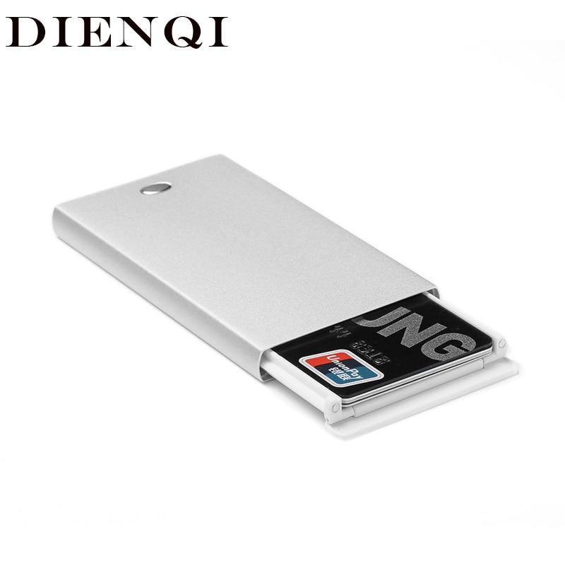 DIENQI Rfid Card Holder Slim Men Wallets Metal Magic Mini Thin Wallet Vintage Short Small Male Vallet Smart Purse 2019 Waller