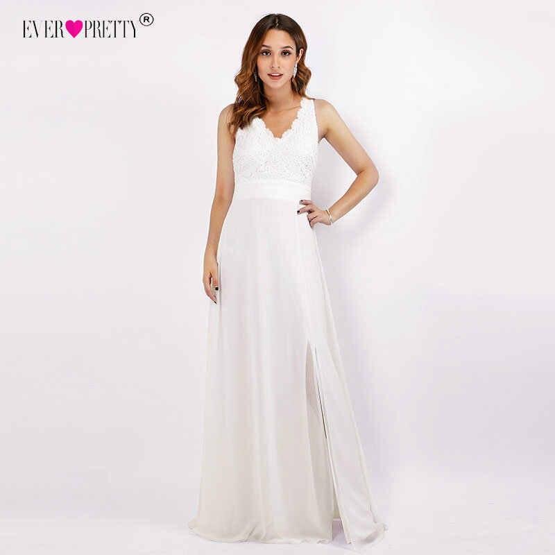 שנהב חתונת שמלות אי פעם די סקסי Robe דה Mariee V-צוואר ללא משענת ארוכה כלה שמלת הגב פתוח שיפון vestido דה noiva
