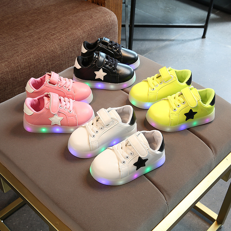 2018 New cool fashion toddler first walkers solid color casual baby sneakers sports running light kids girls boys shoes