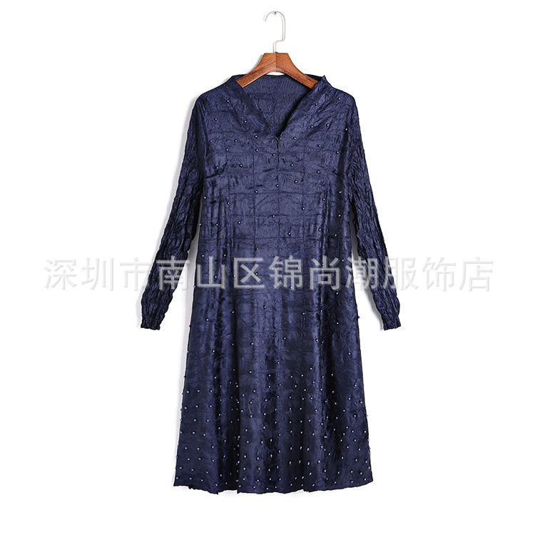 Manches Mode bourgogne Fold Livraison Miyake Plier Bleu Sept cou Gratuite De marine Stock Robe Perles V En Noir Cq0HPC