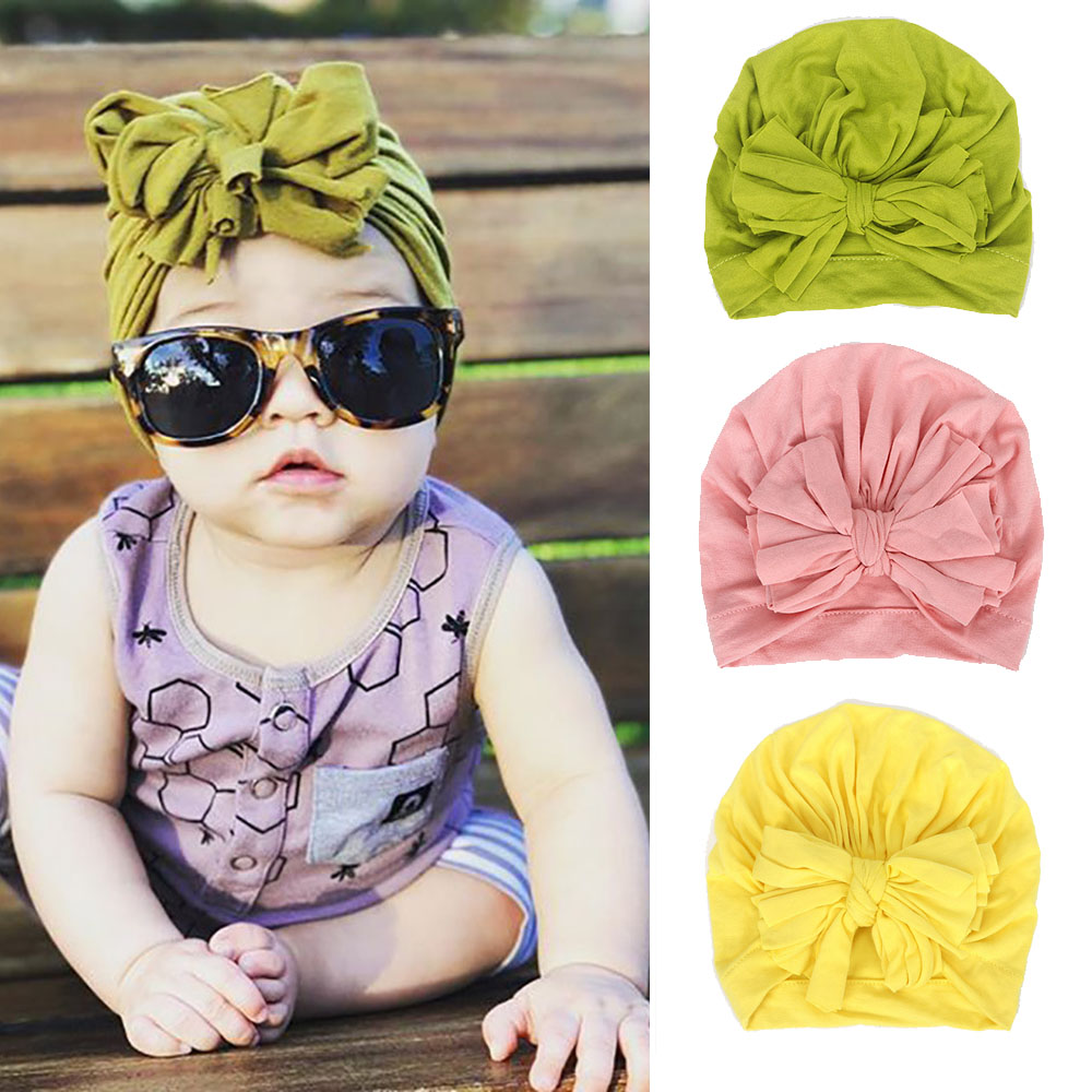 2020 New Lovely Bowknot Hats For Baby Girls Children Candy Color Top Knot Cotton Soft   Beanies   Hat Caps Newborn Turban Wrap
