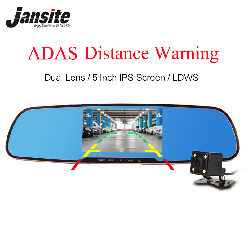 Jansite newest 5.0 inch Car Camera With ADAS Review Mirror Camera Car Dvr Detector Video Recorder Dual Lens FHD 1080P Dash Cam 5 inch car camera dvr dual lens rearview mirror video recorder fhd 1080p automobile dvr mirror dash cam