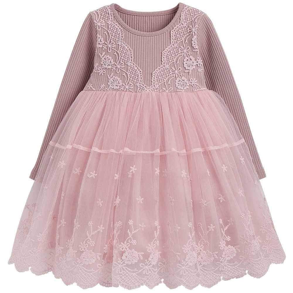 5225987cf91 Элегантное платье для девочек с длинным рукавом Кружева сетчатые платья для  девочек вечерние бальные платья Детские