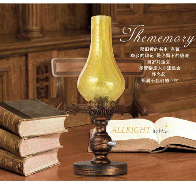 Kerosene Table Lamp Tith Dimmer Switch Crackle Tawny Color Glass