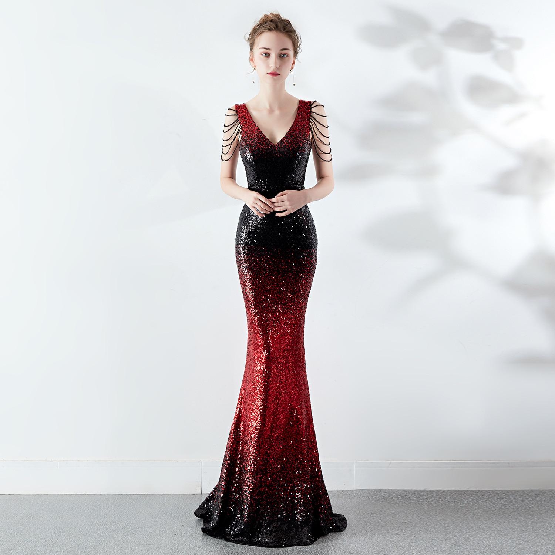 Rouge et noir perlé paillettes col en V sans manches sirène formelle robes élégantes 2019 femmes célébrité robe de soirée tenue de club de nuit