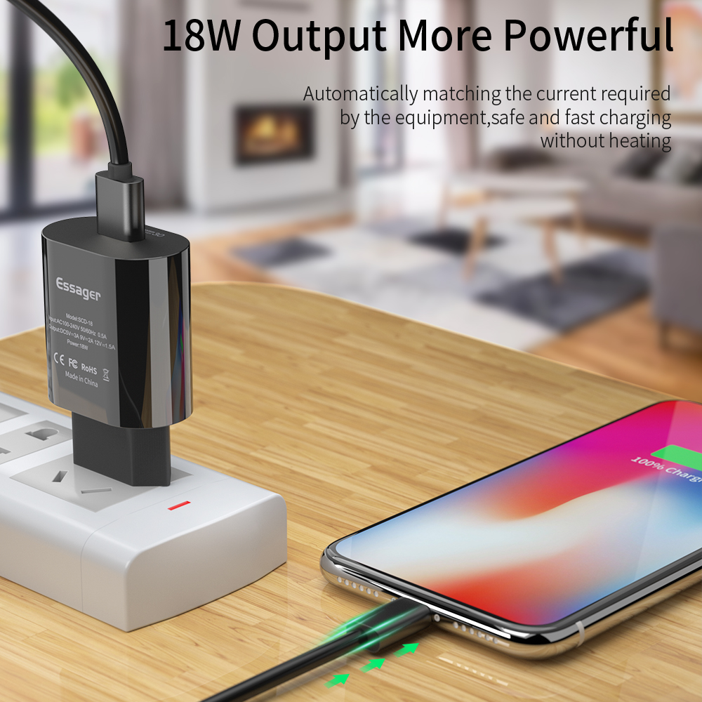 Essager 18W USB Charger Quick Charge 3 0 Turbe Charger QC3 0 For Samsung Xiaomi mi Fast Charging For iPhone Mobile Phone Charger in Mobile Phone Chargers from Cellphones Telecommunications