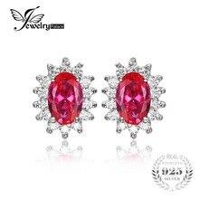 Jewelrypalace princesa diana william kate middleton 1.5ct creado rubí stud pendientes pura plata esterlina 925 joyería fina