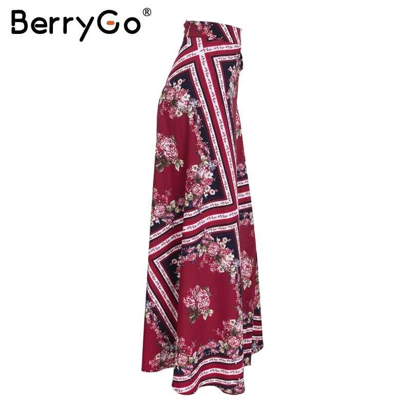 BerryGo, Женская юбка с геометрическим принтом, длинная, Пляжная, бохо, повседневная, макси юбка, лето 2018, весна, пояс с высокой талией, завязывается, юбка с запахом