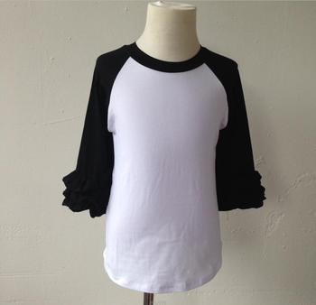 Wholesale sleeve plain blank icing raglan Toddler boutique kids shirt icing raglan tshirt raglan shirt with ruffle sleeve фото