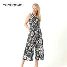 summer new casual jumpsuits for women full length regular print sashes sleeveless o neck back zipper streetwear ladies