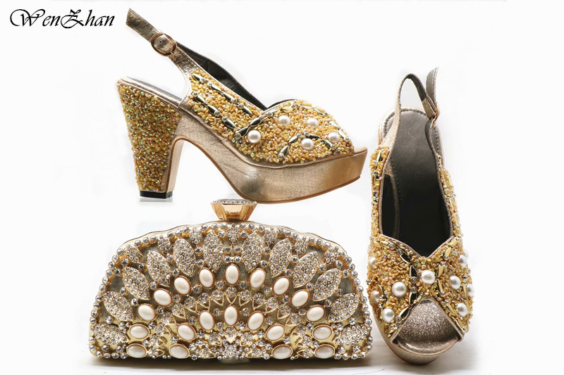 Newest African Women Design Shoes With Bag Set For Wedding Italian Pretty Pumps Shoes And Bags Set Gold Color 38-42 E93-31Newest African Women Design Shoes With Bag Set For Wedding Italian Pretty Pumps Shoes And Bags Set Gold Color 38-42 E93-31