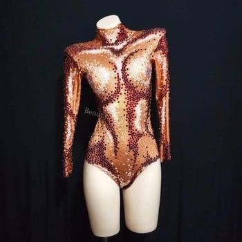 Sparkly AB Beads Orange Bodysuit Sexy Big Stretch Outfit Nightclub Shining Rhinestones DS Costume Female Singer Dance Leotard